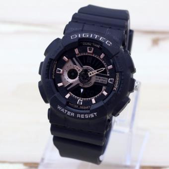 Digitec DG2063 Dual time jam tangan Wanita-(Hitam-Rosegold)