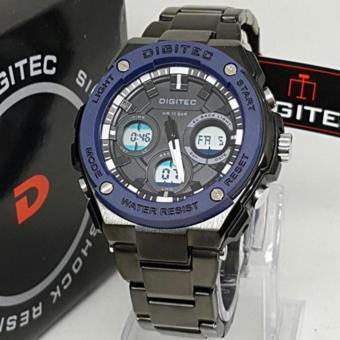Digitec Dual Time - DG 8590- Jam Tangan Pria - Stainless Steel