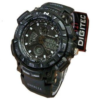 Digitec Dual Time Jam Tangan Sport Pria - Rubber Strap - DG 2044 Black White
