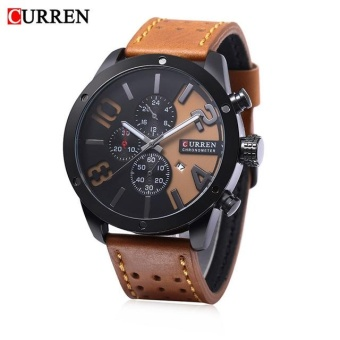Diotem Curren 8243 Calandar Male Business Quartz Watch 30m Water Resistance Leather Band Wristwatch Orange Black Black - intl