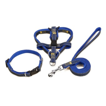 Dog Leashes Adjustable Denim Pet Harness Set Lead Leash Training Walking Belt For Small Medium Puppy Dogs Cats - Blue S/1.0*120cm - intl