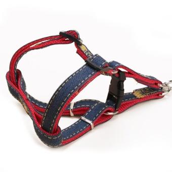 Anjing Kalung Bisa Disesuaikan Denim PET Harness Set Timah Leash Pelatihan Berjalan Sabuk For Kecil Menengah
