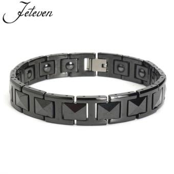 Elegant Black Tungsten Carbide Men's Magnetic Therapy Link Bracelet Pain Relief - intl