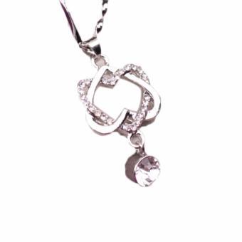 Fancyqube Baru Fashion Double Heart Perawatan Luka Tautan Kalung Warna Emas dan Perak Perhiasan (Putih