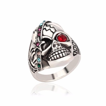 Fancyqube Personality Men's Retro Skull Ring Biker Jewelry Titanium Steel Rings With Red Eye European Style Silver-9 - intl