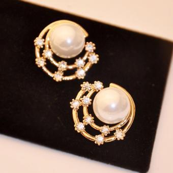 Fancyqube Bulat Shell Anting-anting Mutiara Berlapis Emas Bintang Berlian Imitasi Subang-?