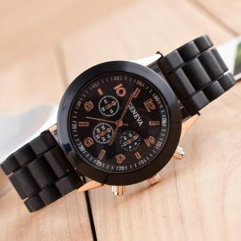 Fashion geneva silicone watches beautiful color jelly student leisure wathces(Black) - intl