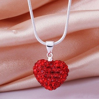 Fashion Heart Crystal 925 Sterling Silver Snake Chain Pendant Necklace Jewelry ...