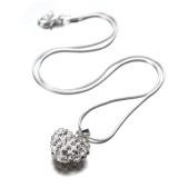 Fashion Hati Kristal 925 Sterling Silver Perhiasan Rantai Kalung Liontin Ular - 2 .