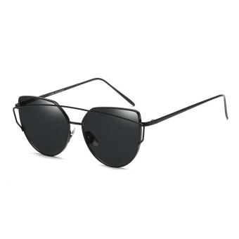 Fashion Baru Logam Warna Film Kacamata Pria And Women Retro Style Sunglasses-Bright Black Box