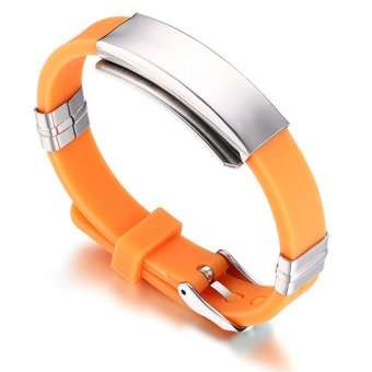 Fashion Orange Men Gelang & Gelang Perhiasan Stainless Steel Olahraga dan Rekreasi Gelang Gelang Gelang Karet