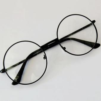Fashion Retro Round lingkaran kacamata asli bening lensa kacamata 2 a