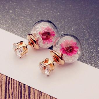 Wanita Fashion Wanita Elegan Anting Giwang Berlian Imitasi Bunga Putih-Internasional