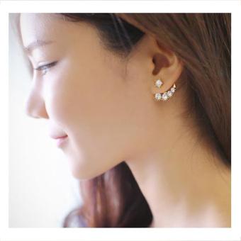 Fashion Wanita Anting Giwang Mutiara Imitasi Kristal Hadiah Perhiasan Baru Keemasan