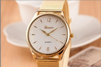 Fashion Womens Classic Gold Geneva QUARTZ Stainless Steel Jam Tangan