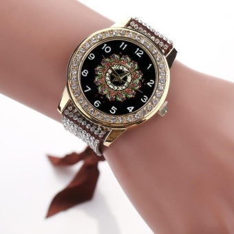 Fashion Women's Ladies Braided Band Rhinestone Analog Quartz Wrist Watches Brown - intl