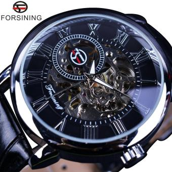 Forsining 3D Literal Design Roman Number Black Dial Designer Watches Men Luxury Brand Erkek Kol Saati Skeleton Watch Clock - intl