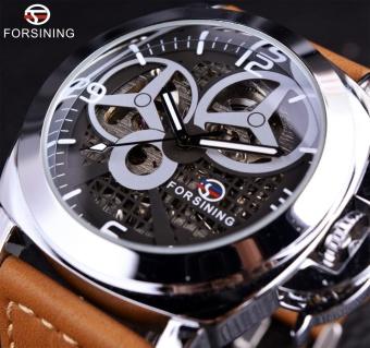 Forsining Kincir Angin Designer Brown Suede Strap Men Watch Top Brand Luxury Otomatis Skeleton Watch Sport