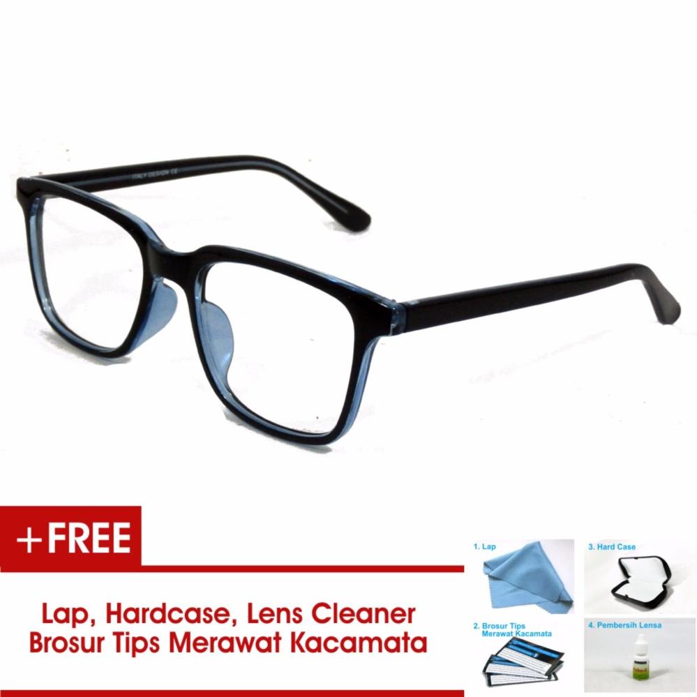 Hot Deals Frame Kacamata Pria Wanita Korea Vintage 75045 Hitam Biru Bisa  Dipasang Lensa Minus Di c4515a7873