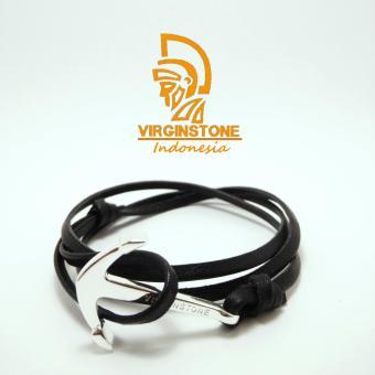 Harga Gelang Virginstone Jangkar Kulit Silver Anchor Black Nautical Leather