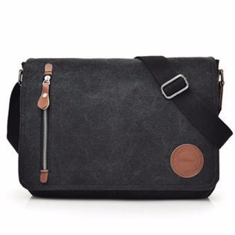 Generic Tas Selempang Laptop Kanvas Travel Pria Korea Sling Bag Multifungsi M5 - Black