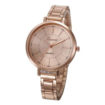 Geneva Fashion Simple Men Quartz Watch Alloy Watch - Rose Gold - intl