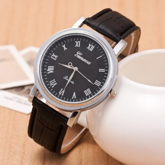 Geneva Man Leather Strap Silver Frame Fashion Watches -Black-