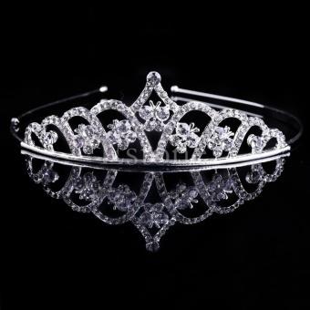 Gadis Bridal Putri Rambut Mahkota Tiara Yang Menakjubkan Crystal Wedding Hair Band Headband Baru-Internasional