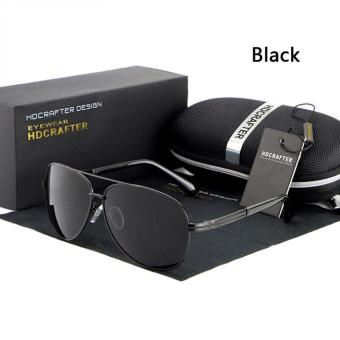 HDCRAFTER Men's Polarized Colorful Sunglasses Metal Frame Sunglasses (Black) - intl
