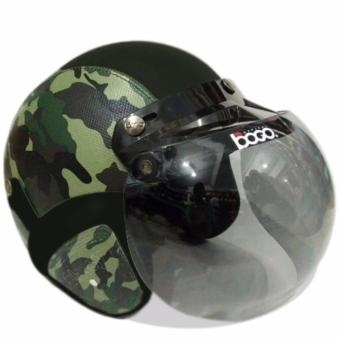Helm Bogo Retro Full Synthetic Leather dewasa / Remaja + Kaca Bogo Original - Army