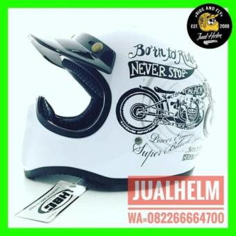 HELM CAKIL HBC BORN TO RIDE PUTIH HITAM