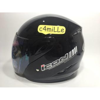 Helm GM Icon Black Solid Half Face