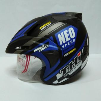 Helm Half Face THI Rookie Blue Black Doff