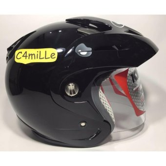 HELM KYT ROMEO SOLID BLACK HALF FACE