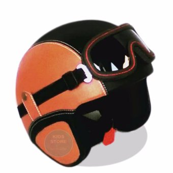 Helm Retro Full Synthetic Leather dewasa / Remaja + Kaca Mata - Moca/Hitam