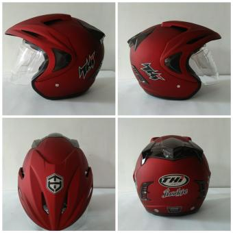 Helm Thi Half Face Solid  Red Doff Sni dan Original