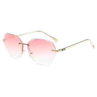 Hot-selling Gaya Logam Sunglasses Wanita Warna Frameless Tren Sunglasses-Bingkai Emas Gradient Powder