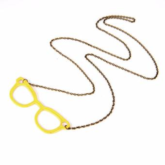 Harga LRC Kalung Korean personality fashion candy color glassess pendant necklace