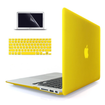 "Harga Welink 3 in 1 Apple MacBook Air 11"" Case / Soft-Touch Plastic Hard Case Cover + Keyboard Cover + Screen Protector for Macbook Air 11'' (Yellow)"
