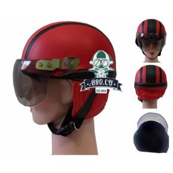 Handmade Helm anak shincan lucu motif polos Merah Garis Hitam untuk usia 1 sampai 4 tahun