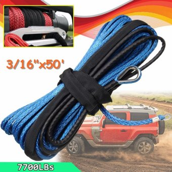 "Harga 3/16"" x 50' 7700LBs Synthetic Winch Line Cable Rope with Sheath ATV UTV Blue - intl"