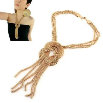 Harga Sanwood Vintage Women 's Jewelry Trendy Golden Alloy Tassel twine Crossover Snake Chain Necklace 9PZQ - intl