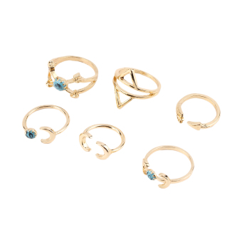 Harga Allwin Boho Ethnic Gypsy Mexico Moon Sun Turquoise Jewelry Rings Retro Rings Pack Golden - intl