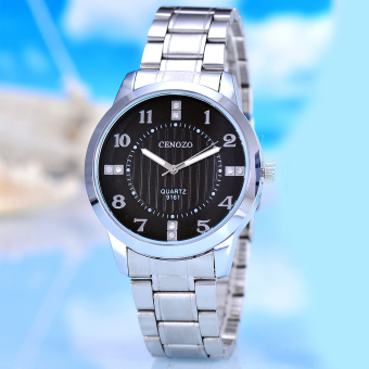 Harga Cenozo - Jam Tangan Pria - Body Silver - Black Dial - Silver Stainless Steel Band - CNZ-RT-9161B-G-SB - Stainless Steel Band
