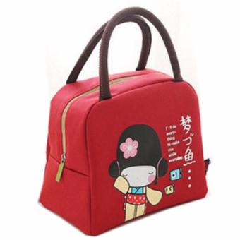 Harga Travel Bag, Iconic, Thermal Warm, Iconic Insulted, Cooler, Snack Box, Insulated Lunch Pouch, Bento Lunch Bag Character Bag Japanese Girl Red