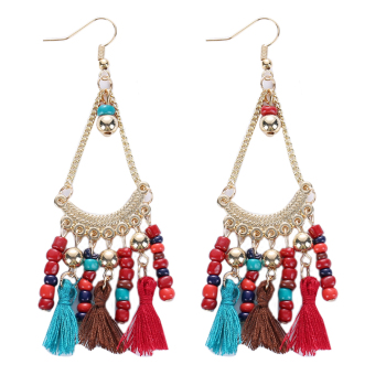 Harga Vintage Ethnic Bead Drop Long Tassel Refinement Earrings (Multicolor) - intl