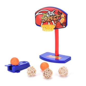 Harga Pet Bird Toy Parrot Basketball Hoop Trick Prop + 3pcs Bell Balls Brain Game - intl