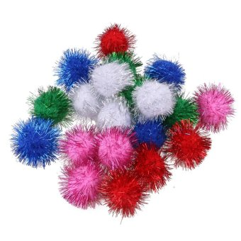 Harga Glitzy Tinsel Sprayed Pompoms Balls Cat Squirrel Hamster Parrot Toys (Multicolor) - intl