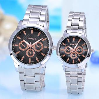 Harga Cenozo - Jam Tangan Pria & Wanita - Body Silver - Black/SW Dial - Silver Stainless Steel Band - CNZ-RT-9207GL-SB -Couple - Stainless Steel Band