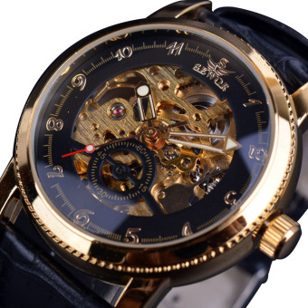 Harga Sewor Hollow Engraving Skeleton Casual Designer Black Golden Case Gear Bezel Automatic Watches - Intl